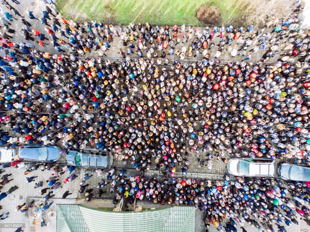 above view on crowd. big amount of people.