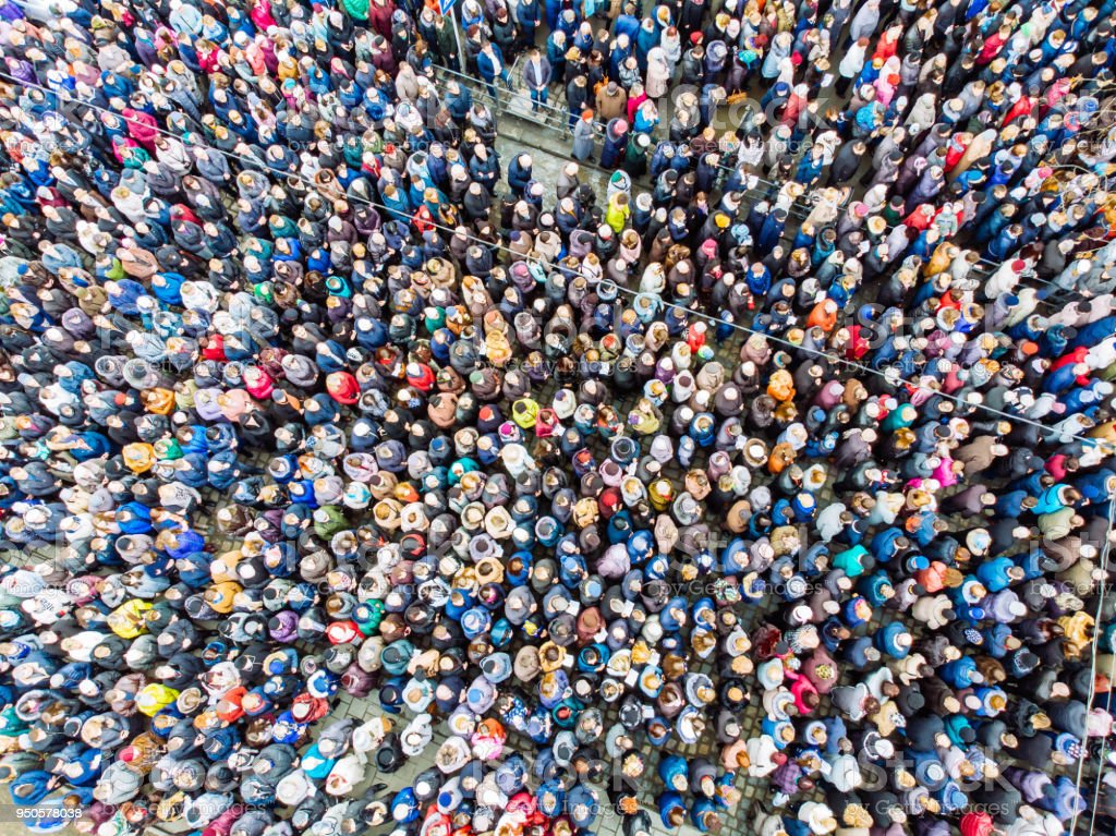 above view on crowd. big amount of people. stock photo