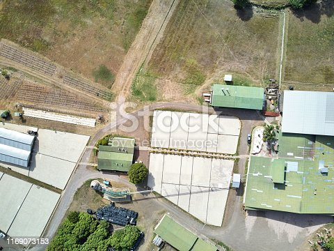 Above view on empty fields for drying coffee