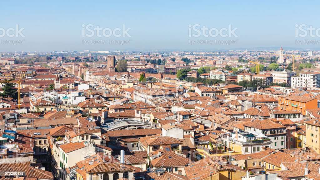 above view Verona city with Castelvecchio Castle stock photo