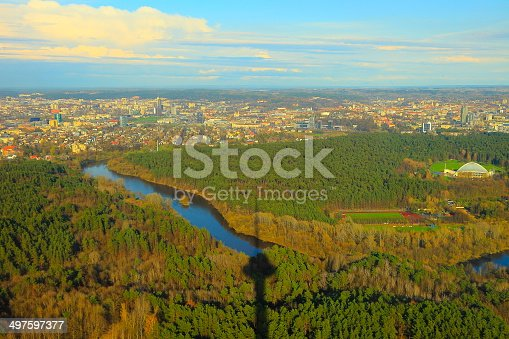 istock Above Vilnius skyline from Tv Tower, Lithuania, Baltics 497597377