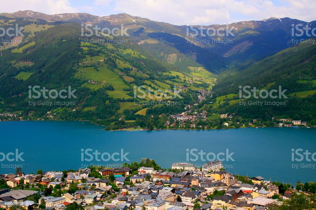 Above Zeller lake - Zell am See and Mountain range landscape aerial view, Tirol landscape in Austrian Salzburger land, Austria stock photo