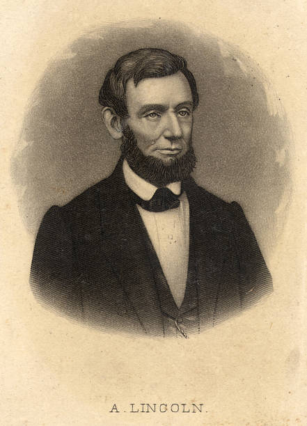 Abraham Lincoln engraving stock photo
