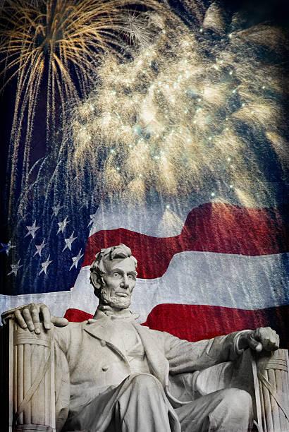Abraham Lincoln Fireworks stock photo