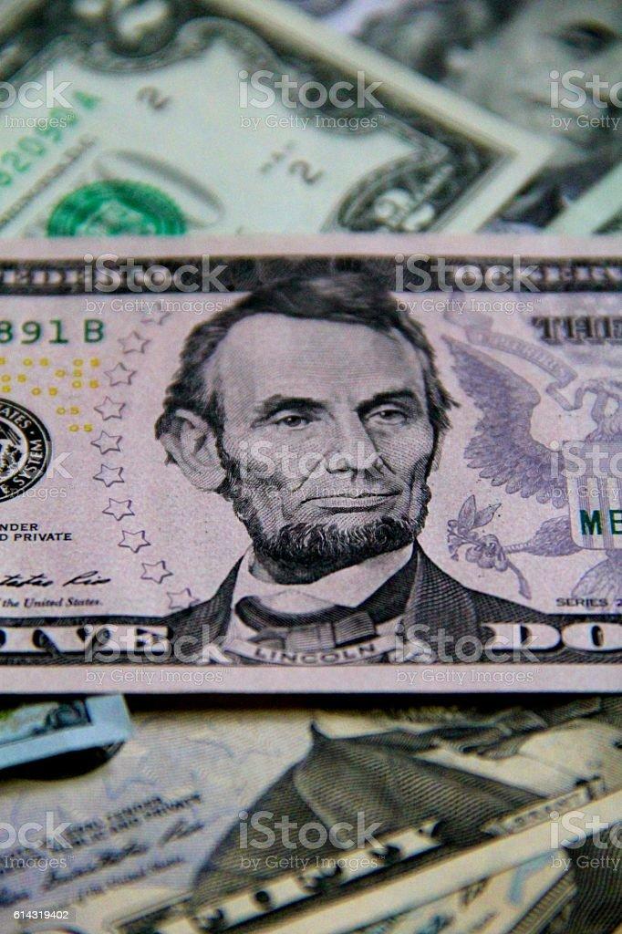 Abraham Lincoln Five Dollar Portrait stock photo