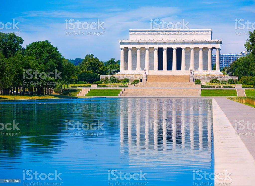 Abraham Lincoln Memorial reflection pool Washington stock photo