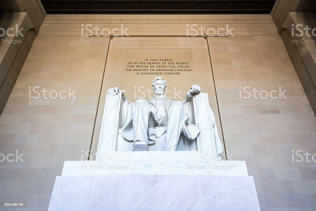 Abraham Lincoln Memorial Sitting Chair famous Landmark Closeup P stock photo