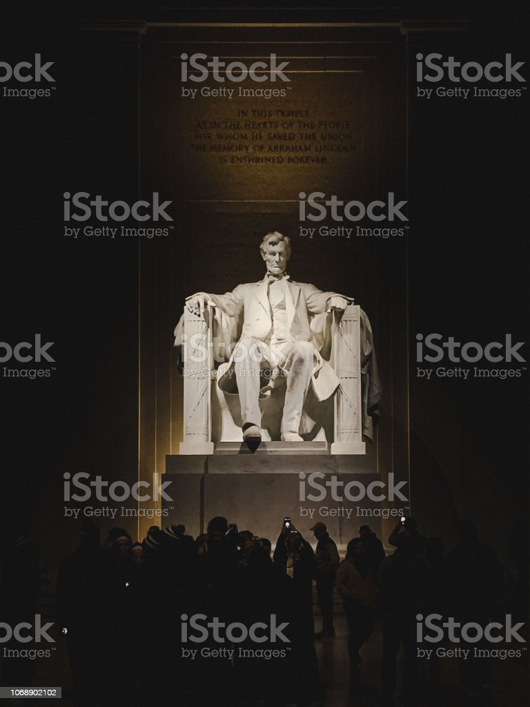 Abraham Lincoln monument statue illuminated at night stock photo