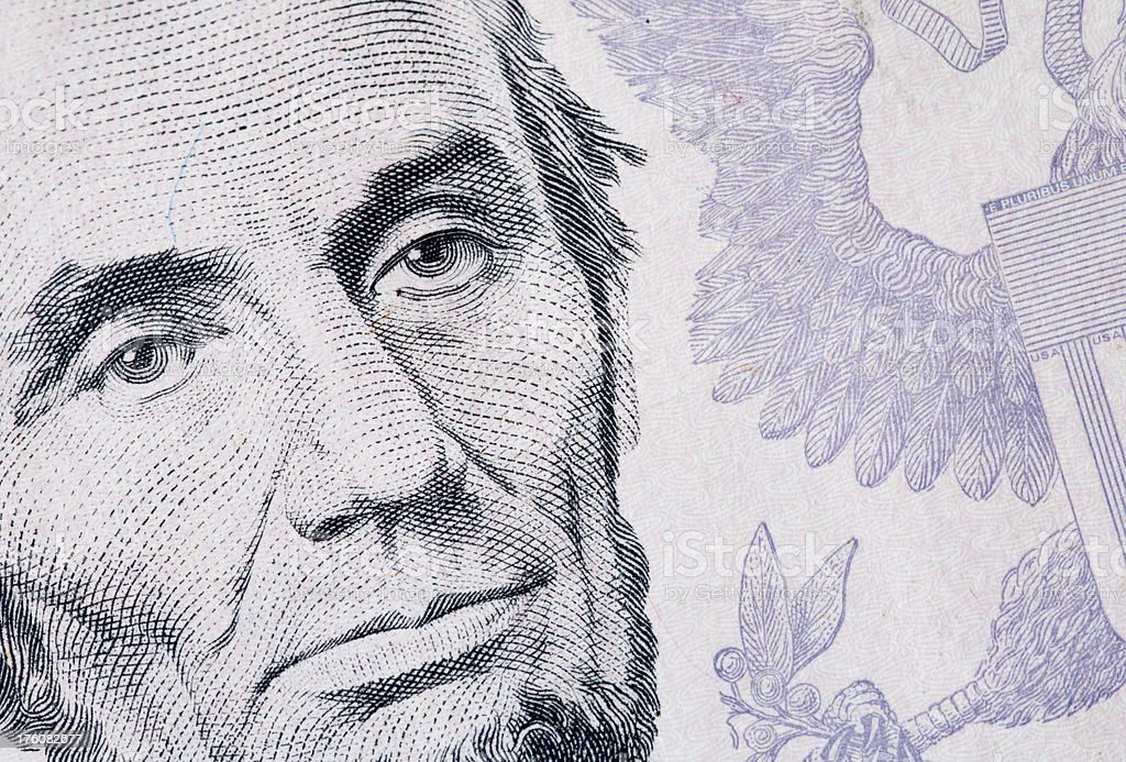 Abraham Lincoln on US 5 Dollar Note stock photo