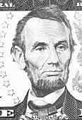 istock Abraham Lincoln portrait from us 5 dollars black and white. 887572082