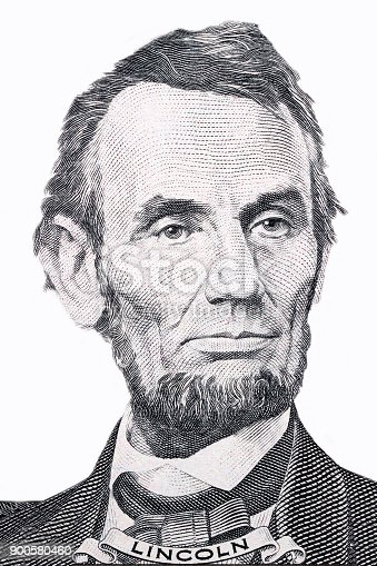 Abraham Lincoln portrait on a white background
