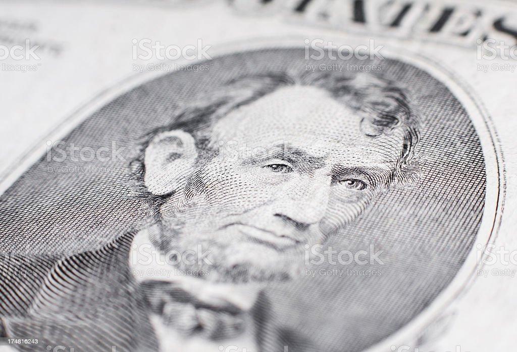 Abraham Lincoln portrait. US money royalty-free stock photo