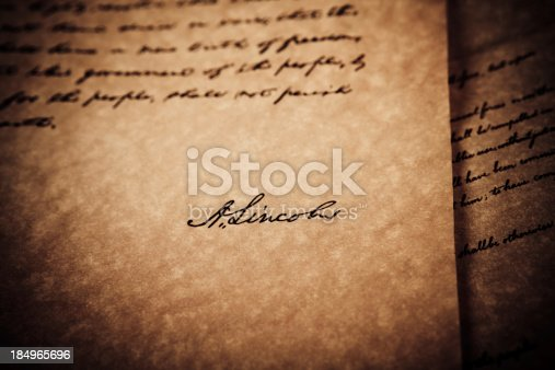 826166958 istock photo Abraham Lincoln signature 184965696