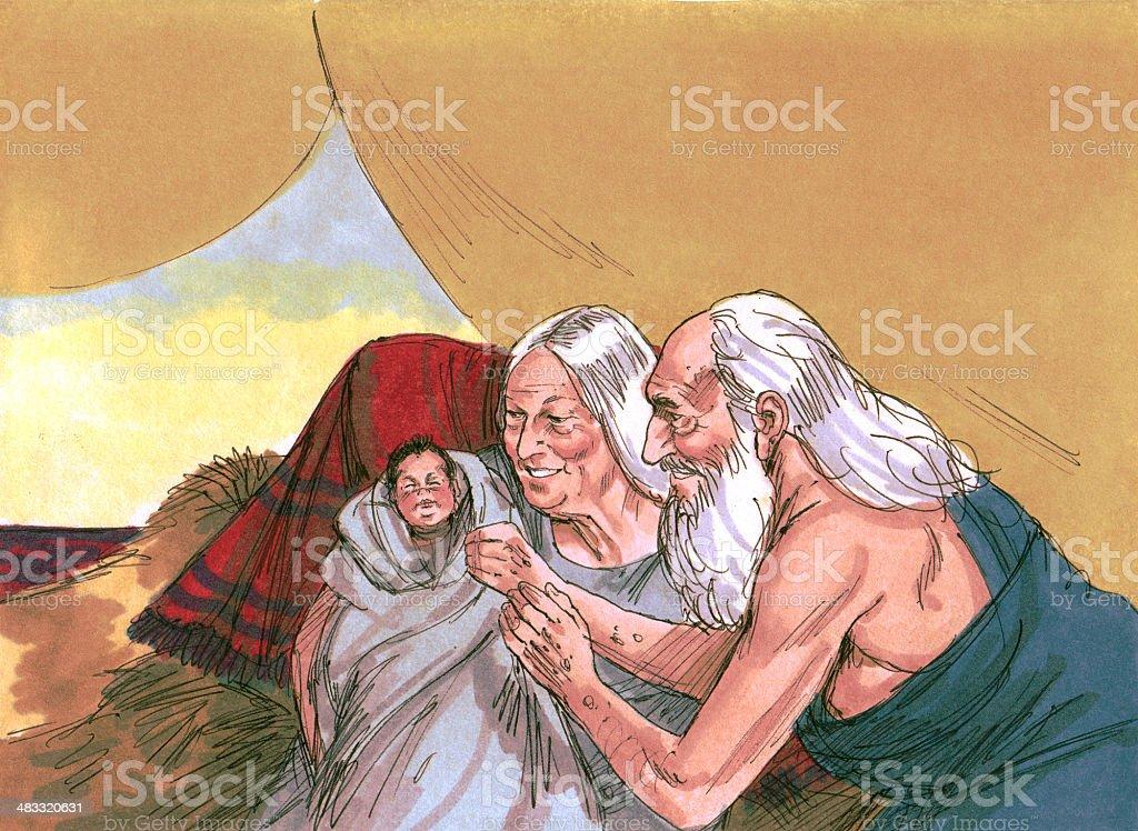 Abraham, Sarah, and Baby Isaac stock photo
