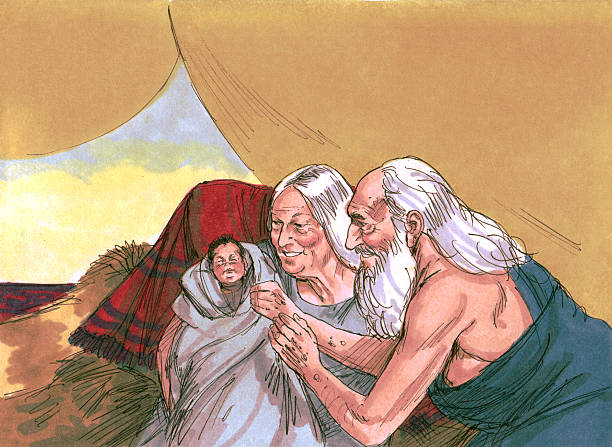 "Abraham, Sarah, and Isaac ""God instructed Abram to leave his home with his wife, Sarai and his belongs and to go Canaan. God promised Abram and Sarai children. Abram obeyed God. A famine hit Canaan. Abram decided to go to Egypt, but was worried that the king of Egypt would want Sarai. He told Sarai to say she was his sister instead of his wife. Abram was correct. The king had Sarai brought to him and tried to pay Abram with gifts. Disease hit the kingaas palace. The king knew God had sent the illness and sent Abram away. They returned to Canaan. God again promised Abram and Sarai children. They were 85 and still childless. Sarai had Hagar, her servant, deliver a child for her. His name was Ishmael. After his birth, God changed Abramaas and Saraiaas names to Abraham and Sarah. Time passed and three strangers visited Abraham. They said Sarah would give birth to a son. Sarah began to laugh. Hearing her laugh the men said aIs anything too hard for the Lordai When Abraham was 100 years old, Sarah gave birth to a son, the child God had promised, named Isaac. Years later, the Lord told Abraham to take Isaac to a mountain and to offer him as a sacrifice to God. Abraham obeyed. As he was about to sacrifice Isaac, an angel of the Lord stopped him. God provided a ram and spared Isaac. Abrahamaas faith had passed Godaas test. Sarah died at age 127. Isaac grew up and married Rebekah.The Bible Art Library is a collection of commissioned biblical paintings. During the late 1970s and early 1980s, under a work-for-hire contract, artist Jim Padgett created illustrations for 208 Bible stories encompassing the entire Bible from Genesis through Revelation. There are over 2200 high-quality, colorful, and authentic illustrations. The illustrations are high quality, biblically and culturally accurate, supporting the reality of the stories and bringing them to life. They can be used to enhance communication of Bible stories in printed, video, digital, and/or audio forms."" Abraham stock pictures, royalty-free photos & images"