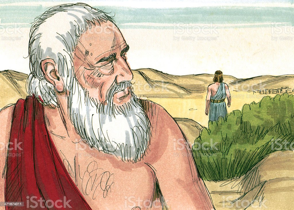 Abraham Sees Man Leaving stock photo