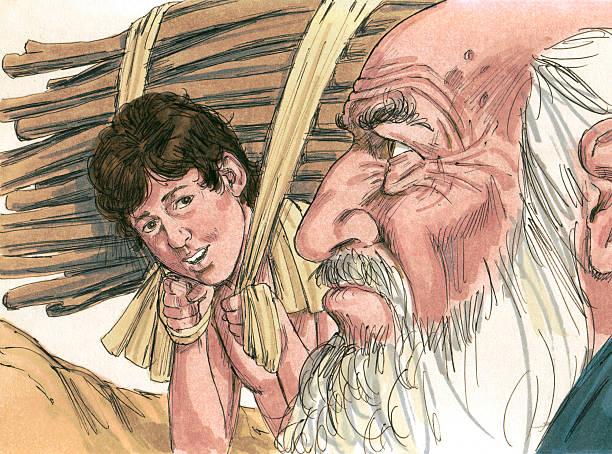 Abraham to Sacrifice Isaac stock photo