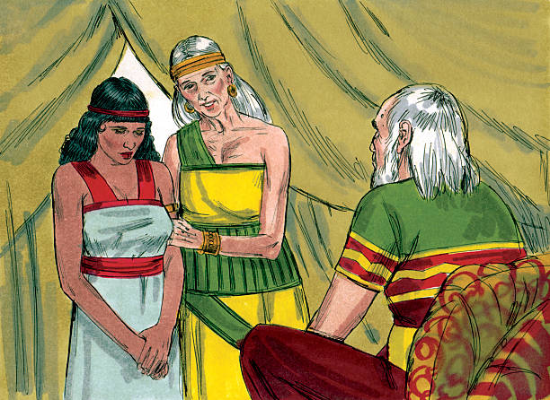 "Abram, Sarai, and Hagar ""God instructed Abram to leave his home with his wife, Sarai and his belongs and to go Canaan. God promised Abram and Sarai children. Abram obeyed God. A famine hit Canaan. Abram decided to go to Egypt, but was worried that the king of Egypt would want Sarai. He told Sarai to say she was his sister instead of his wife. Abram was correct. The king had Sarai brought to him and tried to pay Abram with gifts. Disease hit the kingaas palace. The king knew God had sent the illness and sent Abram away. They returned to Canaan. God again promised Abram and Sarai children. They were 85 and still childless. Sarai had Hagar, her servant, deliver a child for her. His name was Ishmael. After his birth, God changed Abramaas and Saraiaas names to Abraham and Sarah. Time passed and three strangers visited Abraham. They said Sarah would give birth to a son. Sarah began to laugh. Hearing her laugh the men said aIs anything too hard for the Lordai When Abraham was 100 years old, Sarah gave birth to a son, the child God had promised, named Isaac. Years later, the Lord told Abraham to take Isaac to a mountain and to offer him as a sacrifice to God. Abraham obeyed. As he was about to sacrifice Isaac, an angel of the Lord stopped him. God provided a ram and spared Isaac. Abrahamaas faith had passed Godaas test. Sarah died at age 127. Isaac grew up and married Rebekah.The Bible Art Library is a collection of commissioned biblical paintings. During the late 1970s and early 1980s, under a work-for-hire contract, artist Jim Padgett created illustrations for 208 Bible stories encompassing the entire Bible from Genesis through Revelation. There are over 2200 high-quality, colorful, and authentic illustrations. The illustrations are high quality, biblically and culturally accurate, supporting the reality of the stories and bringing them to life. They can be used to enhance communication of Bible stories in printed, video, digital, and/or audio forms."" Abraham stock pictures, royalty-free photos & images"