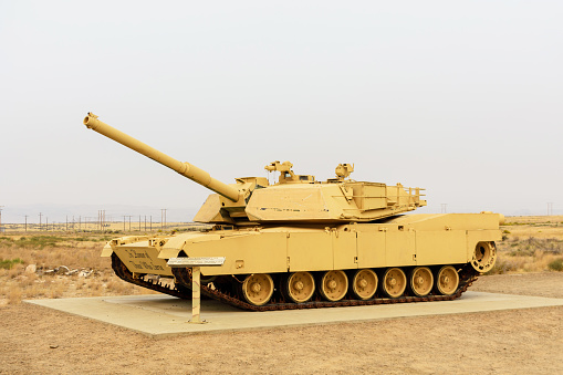 M1A1 Abrams main battle tank in outdoor museum. - Boise, Idaho, USA - 2020