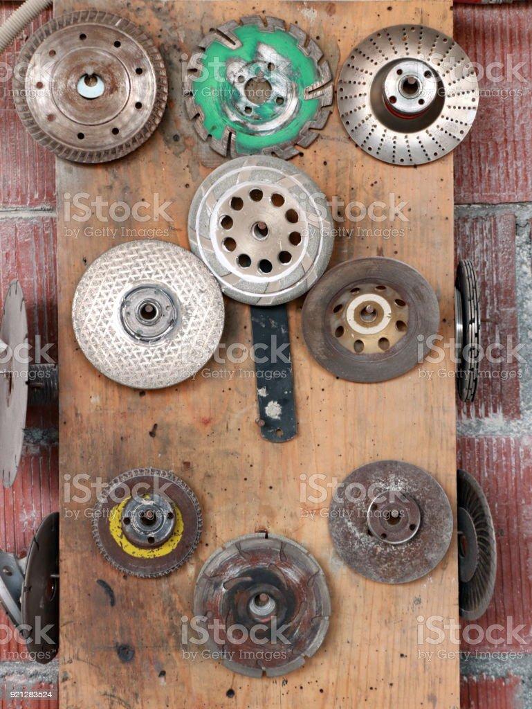Abrasive discs sandpaper stock photo