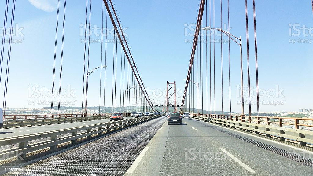 25 Abril bridge in Lisbon Portugal stock photo