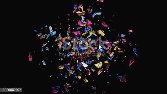 Abs glass shards bg - 3d rendered image background with glass shards and glitter. Design motion graphics elements. Black background. Explosion shape.