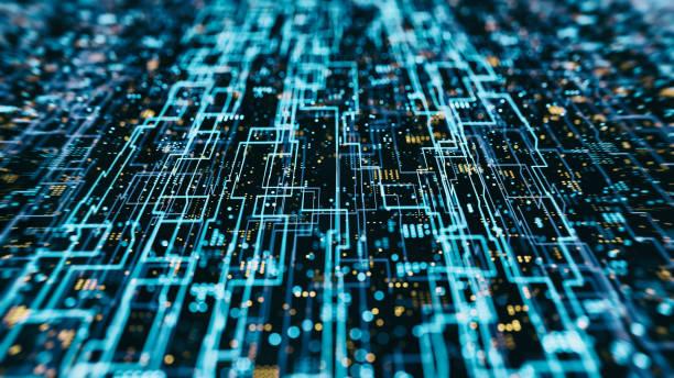 Abs Hologram Data flow grid stock photo