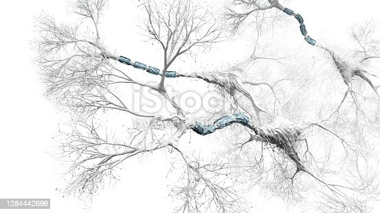 Abs Neuron system on white - 3d rendered image of abstract Neurons cells network on white background.  Conceptual medical image.  Healthcare concept. AI, AR, VR.
