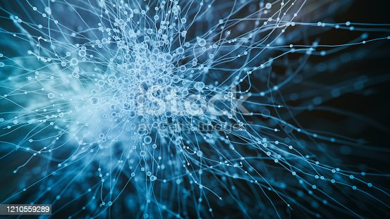 Abs neurons hologram view - 3d rendered image of abstract Neurons cells network.  Conceptual  technology medical image.  Healthcare concept. AI, AR, VR. Science background.