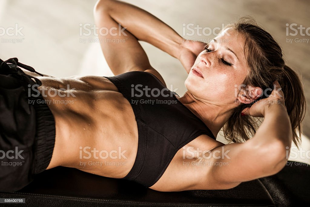 Abs workout stock photo