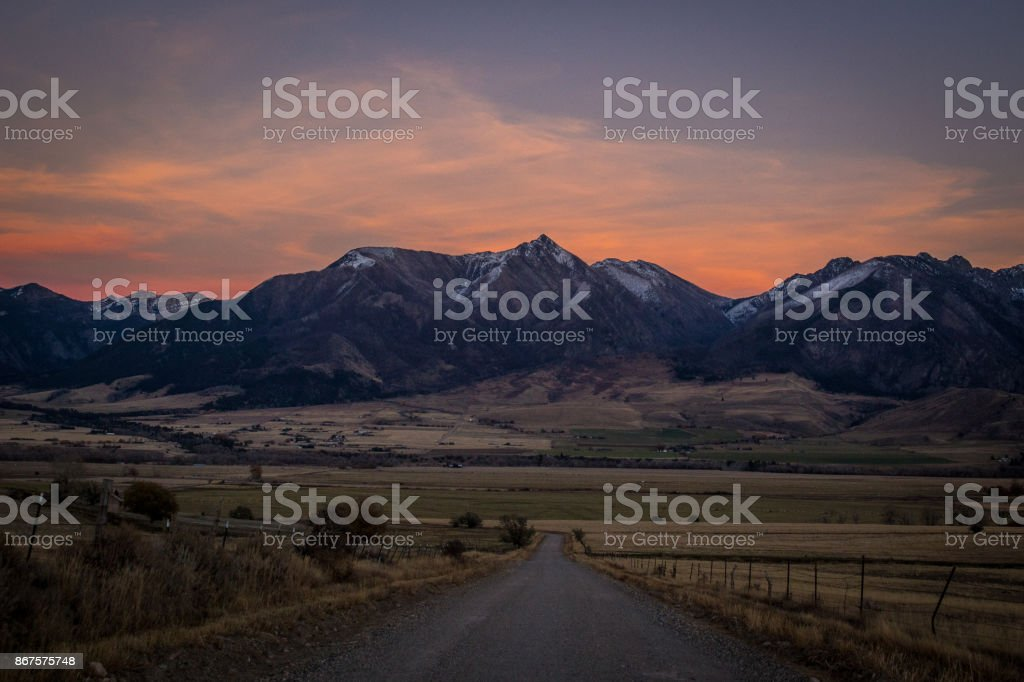 Absaroka Sunset stock photo