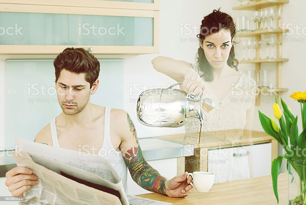 Absent wife. royalty-free stock photo
