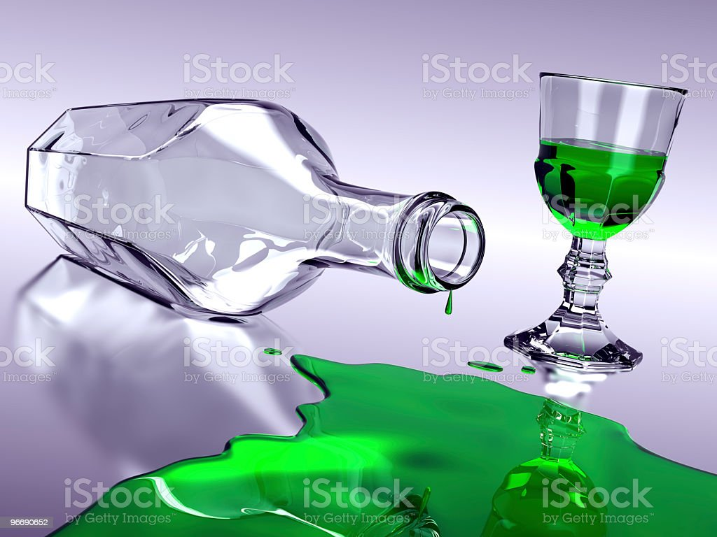 Absinthe Spill royalty-free stock photo
