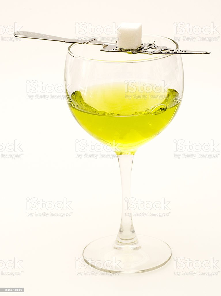 Absinthe with Sugar Cube stock photo