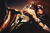 Saxophone Player, Jazz, art, vintage
