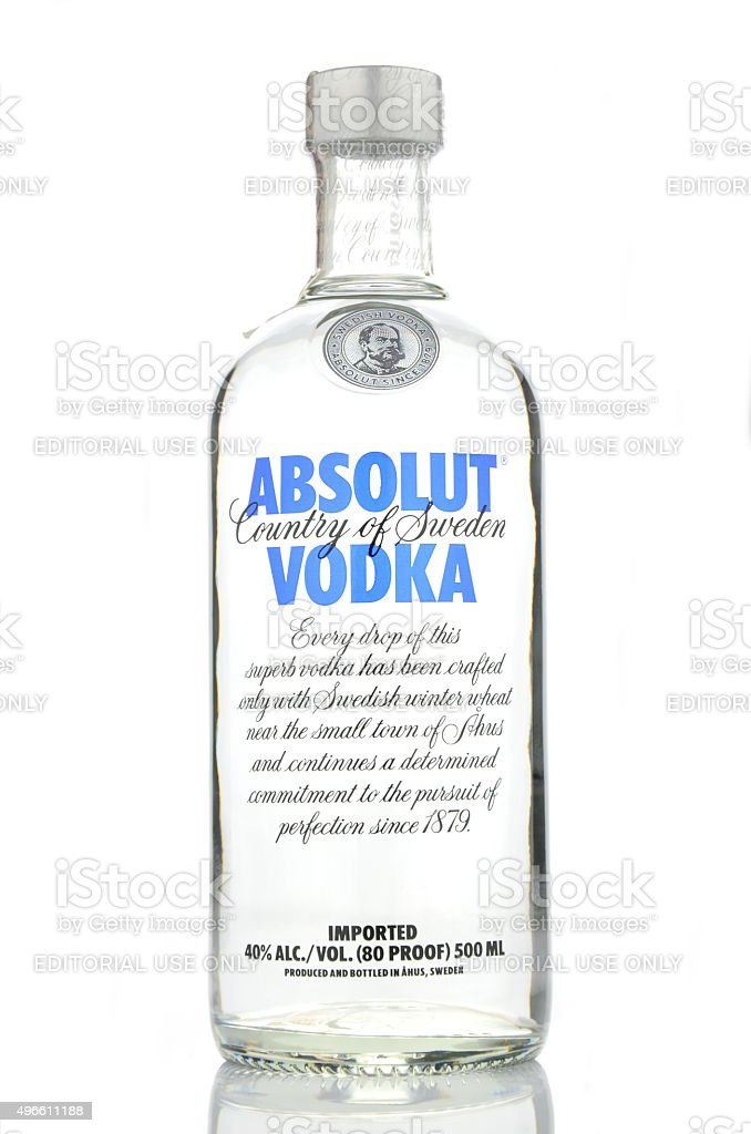 Absolut Vodka Isolated On White Background Stock Photo