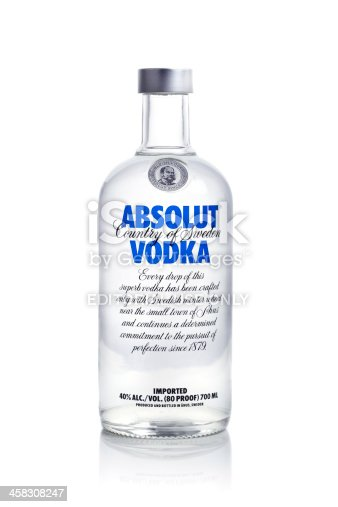 istock Absolut vodka on white background 458308247