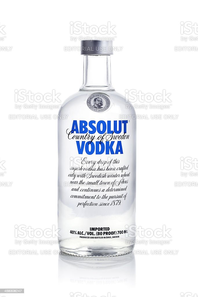 Absolut vodka on white background stock photo
