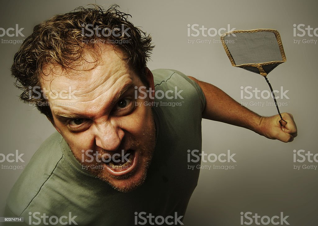 Absolutely Livid Man After Pesky Gnats. stock photo
