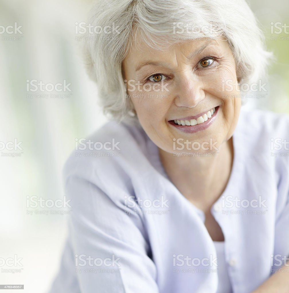 Absolutely loving her senior years stock photo
