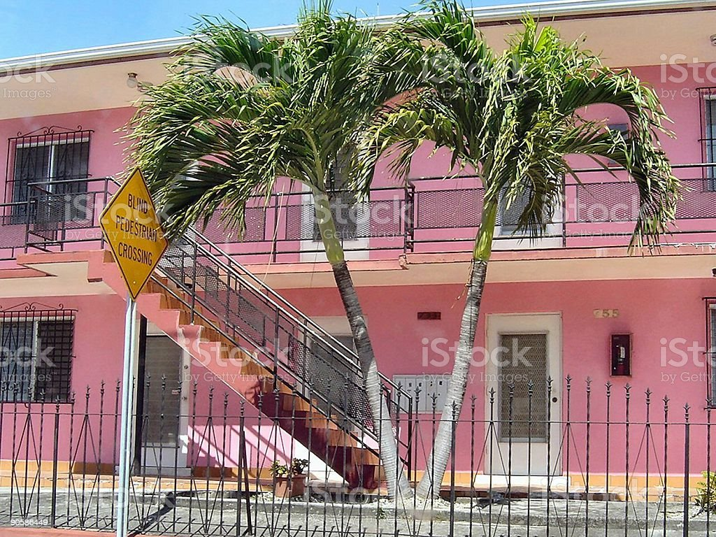 Absolutely Pink with palmtrees stock photo