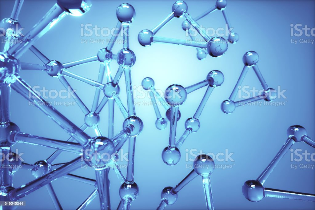 Abstact Blue Molecular Background stock photo