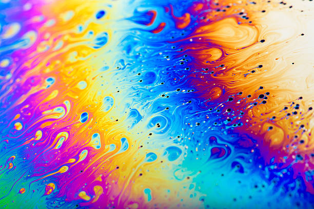 Abstact colours of a soap bubble film stock photo