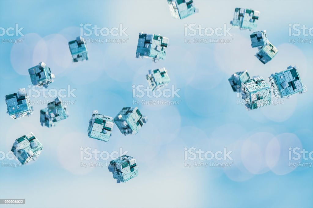 Abstact data, flying cubes in virtual space stock photo