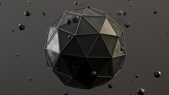 Abstract polygonal grey spheres