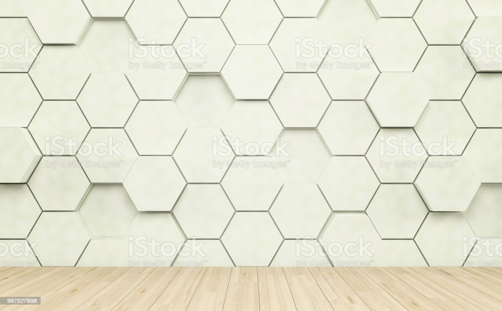 Abstact room with light wood floor and futuristic wall. 3d render stock photo