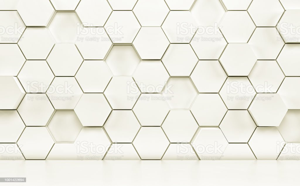 Abstact room with white floor and futuristic wall. 3d render stock photo