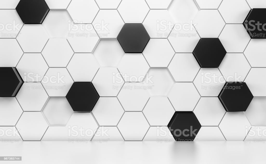 Abstact room with white floor and futuristic white and black wall. 3d render stock photo