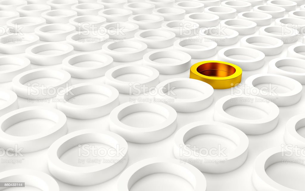 Abstact white modern architecture background with white circles and one gold on the wall. 3d render stock photo