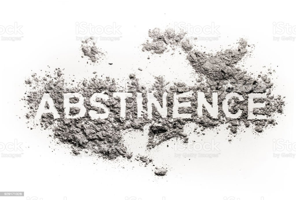 Abstinence word written in ash stock photo